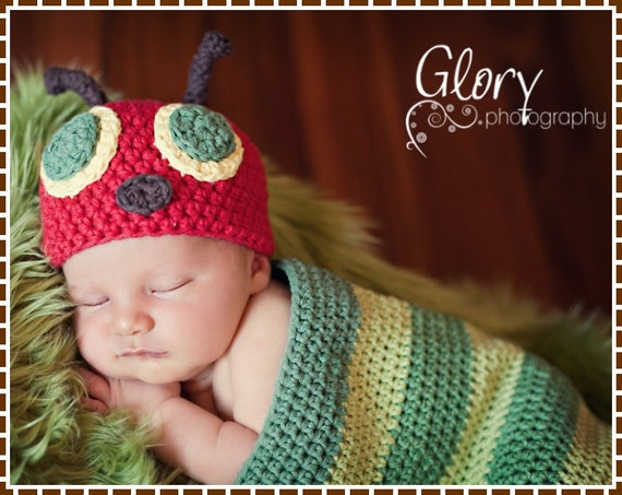 Crochet Caterpillar Hat Pattern : Hat & Cocoon Crochet Pattern SET HUNGRY by EmieGraceCreations