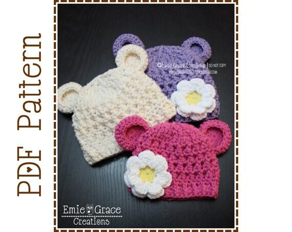 Crochet Bear Hat Pattern, Chunky Beanie, MONA and OTHELLO BEAR - pdf 116