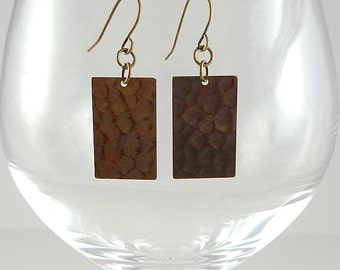 Natural Brass Earrings Raw Brass Earrings Brass Metal Earrings Hammered Brass Earrings