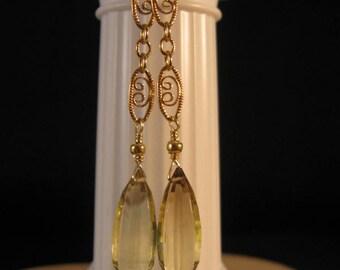 Gold Gemstone Earrings, dangle earrings, drop earrings, gold earrings, gemstone earrings, citrine earrings, drop, dangle, earrings