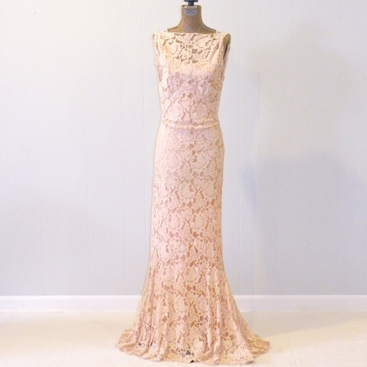 Vintage 1930s Dress 30s Blush Lace Evening Gown And Satin