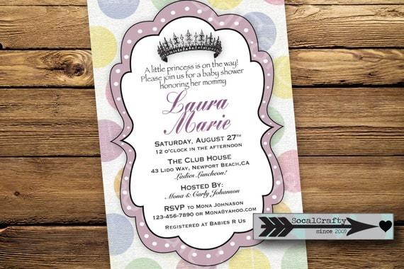 items similar to little princess theme baby shower invitation digital