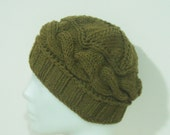 Hand Knitted Hat Womens Hat Small Wool Hat in Moss Green - Winter Sale