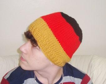 Deutschland, German, Germany Flag Hat Beanie - Hand Knit - Red Black Gold Yellow - German gifts - german teacher gift