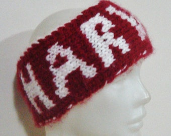 HARVARD WINTER HEADBAND - Hand Knit personalized teacher gift Headband in Harvard Crimson, White - Harvard Gifts - Graduation Gifts