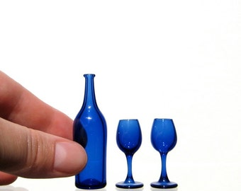 Miniature Wine Set in Blue with Blue Glasses, Hand Blown Glass