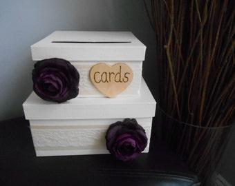 Handmade Rustic Wedding Card Box 2 tiered Card Box Reception Gift Card Box Money Holder Purple Plum Ranunculus Lace Wedding Vintage Wedding
