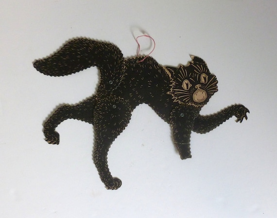 Antique 1930's - 1940's Poseable Scary Black Cat Halloween Wall Hanging Decoration