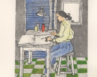 Young woman painting at a table. Etching. Hand colored. Signed. Listed artist.