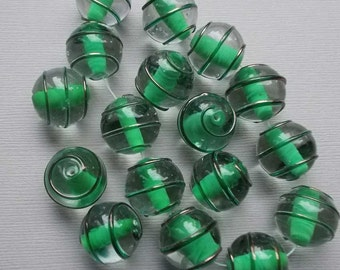 Vintage Lampwork Beads Green Clear Glass THreaded Beads 16mm