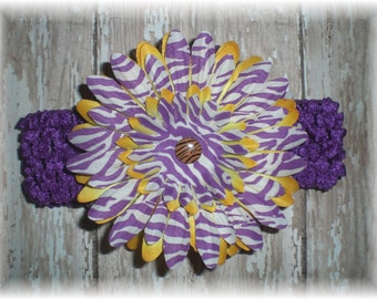 LSU Tigers Inspired Purple and Gold Flower Hair Clip and Headband Set, Baby Headband