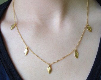 18K Vermeil 5 Succulent Leaves Necklace -- Nature Cast -- Botanical Jewelry