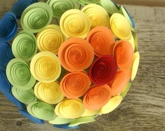 Rainbow Bridal Bouquet, Paper Flower Bouquet, Large Handmade Bouquet