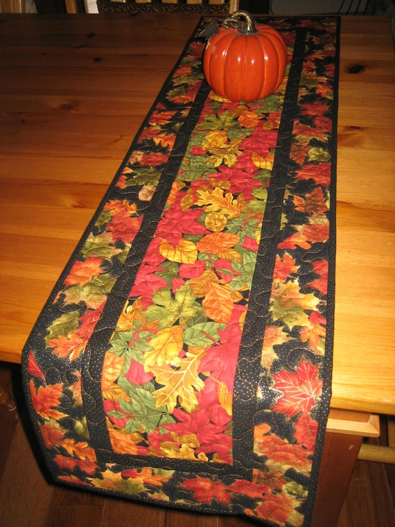 Quilted Table Runner, Vibrant Fall Leaves