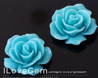 RC157-1 Resin (Turquoise Blue) Rose Flower, Cabochon, 8pcs