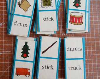 Vintage Flash Cards DLM Word Picture Dominoes No P 219