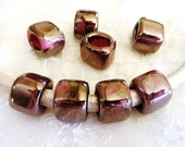 Ceramic Bead Tube Slider Mauve Lilac Mauve Fuchsia Violet, Oil On Water for use Oval Licorice Leather Cord 10x6mm- 1 piece