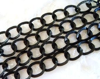Black Aluminium Chain 2x15.5x20mm, Iridescent Open Link Chain - 3 Ft/0,92m approx.(1 piece)