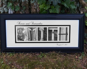 Personalized Framed Last Name Alphabet Photography Art by Letter Pictures 8x20
