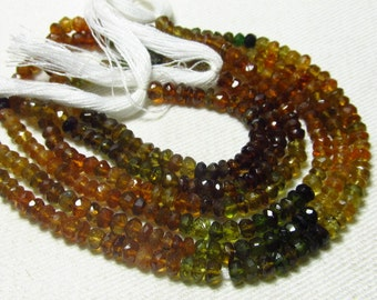 14 Inches - Micro Faceted AAA Petrol Tourmaline Rondell - -Micro Faceted Rondell -Rich Tourmaline - Size - 4 mm