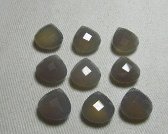 NEW / Arrival - 5 Matched Pair -  Gorgeous Grey Colour CHALCEDONY - 12x12 mm Heart Shape Gorgeous Grey Colour Faceted Sparkle