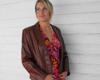 Vintage 70s Leather Jacket 1970s Womens Winlit 13 S M