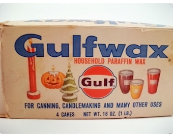 Vintage GULF WAX Parrafin Package 4 FULL Slabs Kitchen Advertising Holiday Graphics Collectible Canning Jam or Making Candles