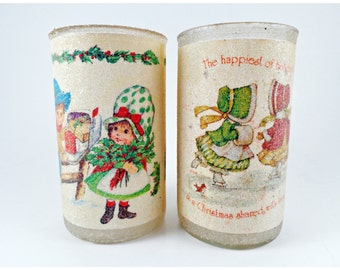 2 Holly Hobby Christmas Sugar Candle Empty Jars Glasses
