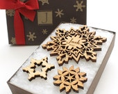 Custom Snowflake Ornament Gift Box - Laser Cut Wood Snowflake Ornament in a Monogram Eco Friendly Gift Box - Timber Green Woods