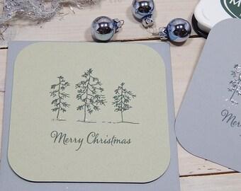 Large Sketched Tree Trio Olive Wood Stamp