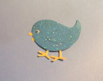 Adorable Glittered Bird Die Cuts - Set of 5