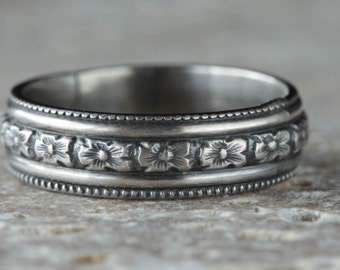 Floral Wedding Ring, Sterling Silver band