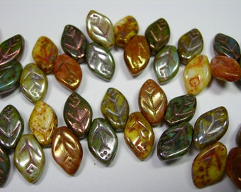 41 beads -Picasso Mix - green/ gold Czech Glass Side Drilled Leaf Beads 5x12mm