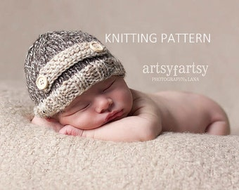 KNITTING PATTERN Tweed Strap Hat - newborn, baby, instant download
