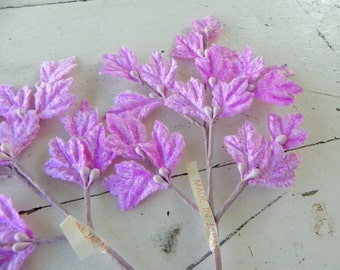 SALE Pink Velvet Millinery Rose Leaves Made in Japan 2 Sprays Vintage Old Stock