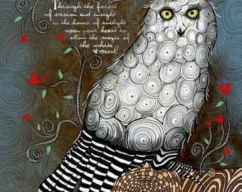 The White Owl / original illustration ART Print Hand SIGNED size 8 x 10 NEW