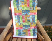 Modern Patchwork Caterpillars, Bugs Purple Pink Ant   Gender Neutral Baby Quilt