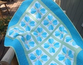 Modern Patchwork Hearts, Blue, Green Baby Boy Quilt You Have My Heart Baby Boy