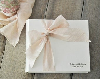 Photo Booth Guest Book, the perfect Wedding Guest Book - Silk Dupioni Bow by Claire Magnolia.
