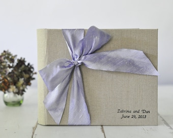 Wedding Guest Book Guest Book - Album - Silk Dupioni Bow by Claire Magnolia