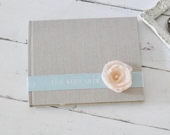 Custom Wedding Guest Books - Velvet Sash & Handmade Flower Custom Book design by ClaireMagnolia.
