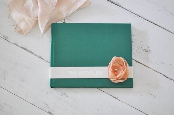 Custom Personalized Photo Album - Velvet Sash & Handmade Silk Flower Custom Book design by Claire Magnolia