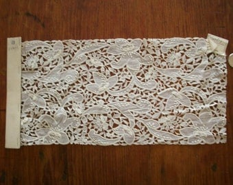 Antique salesman's sample of embroidered batiste in white with lace