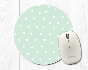 Mouse Pad Mousepad Mouse Pads Office Decor Office Supplies Office Desk Accessories Cubicle Decor Mint Green Mouse Pad Round Polka Dot