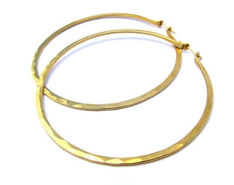 XL 3 Inch Yellow  Brass Hoops