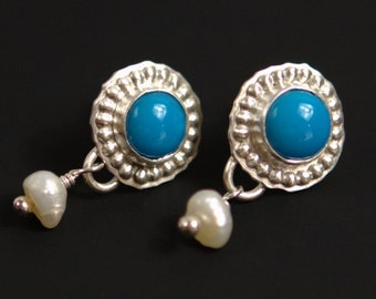 Turquoise & Pearl Earrings in Brushed Sterling Silver - fine jewelry - post earrings - ready to ship