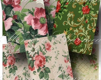 Vintage Wallpaper Digital Collage Sheet SALE!!!  Digital Download - Vintage Floral ATC #8 - Shabby Roses, Flower Pattern INSTANT Download