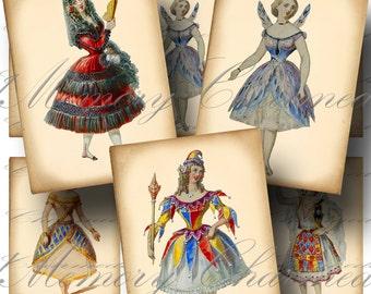Victorian Costumes Digital Collage Sheet SALE!!! Vintage, Ballet, Theatre, Opera, Ballerina, Aged Digital Download ATC #6 - INSTANT Download