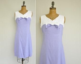 60s dress / vintage 1960s bowtie dress / 60s purple and white linen dress