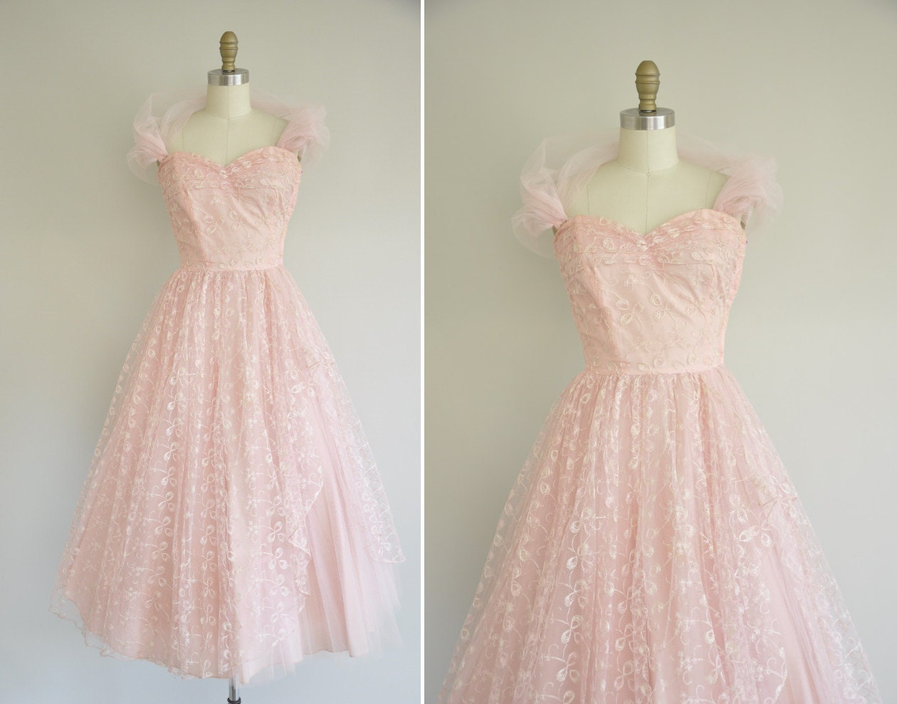 vintage 1950s prom dress 50s pink tulle party dress 1950s